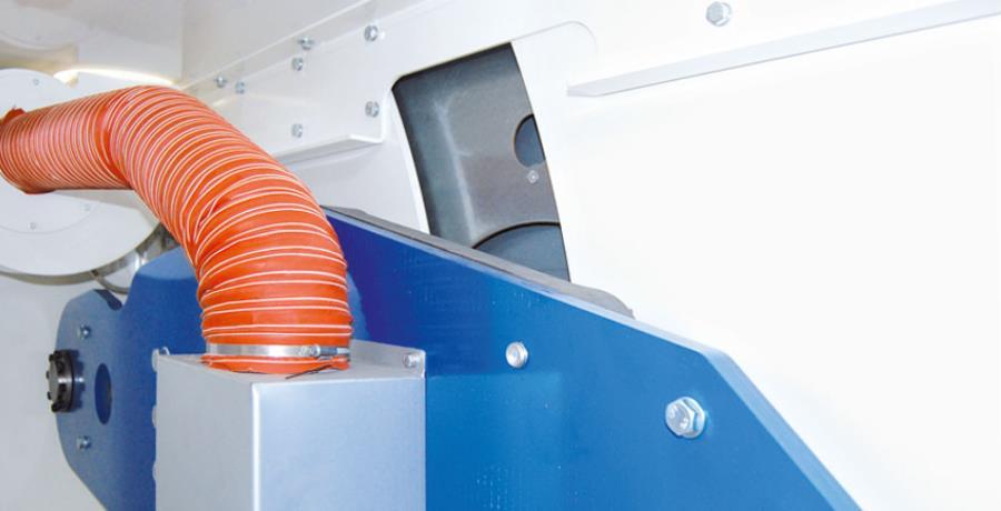 Ventilatorgestütze Absaugung bei den mittleren STAHL Muldenmangeln MC 400 - 800